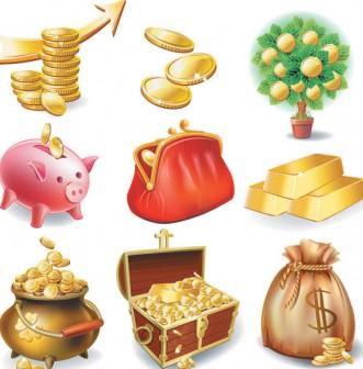商用OK、金貨が輝くお金とお宝のベクターイラストセット「Banking Icons Vector」|Webディレクターのお道具箱【mijinco.com】