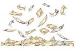 クレジットやローンや融資をイメージしたお金が散乱している背景イラスト-無料 フリー