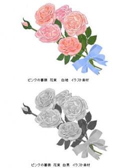 薔薇 (バラ) 赤・ピンク・黄色・青 秋のイラスト素材 無料テンプレート