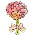 バラの花束の無料イラスト   かわいいイラストならイラストレイン