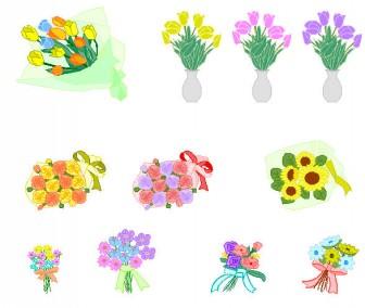 イラスト-植物・花束/花瓶