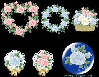 バラ・ばら・薔薇の花束素材-イラスト・アイコン-フリー素材