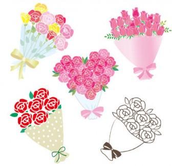 可愛いバラの花束5種類_無料イラスト-無料 フリー
