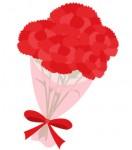 [母の日]かわいいカーネーションの花束イラスト(赤・ピンク)