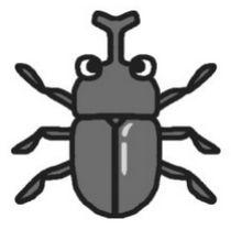 カブトムシ・かぶとむし(モノクロ)/虫・昆虫の無料イラスト/ミニカット・クリップアート素材
