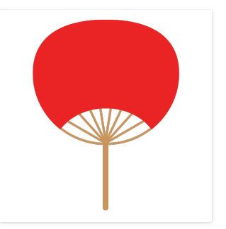 うちわ(赤)のシンプルイラスト <無料> | イラストK