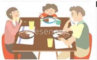 笑顔[食事をする親子 イラスト] のプレゼン素材 - 人物ビジュアル | PresenPic