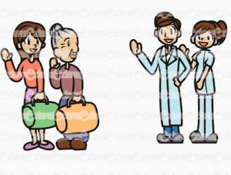 笑顔で退院する患者と見送る医師たち - サンプル画像集:医療キャラクター(2) - イラスト素材集のBeZIER