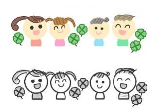 » お友達なかよしイラスト / 笑顔の表情の子供 / 無料フリーイラスト素材 | 可愛い無料イラスト素材集
