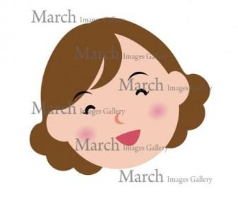 女性の顔(主婦の笑顔)のイラスト素材|クリップアートとベクター画像のMarch Images Gallery
