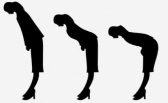 お辞儀している女性のシルエットのイラスト | 無料イラスト作成ソフトInkscape(インクスケープ)の作品集