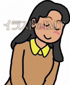 お辞儀している女性のイラスト【無料イラストのIMT】商用OK、さくらおはぎ作