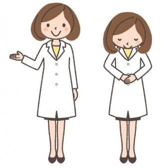 薬剤師(女性)の全身イラスト「案内する・おじぎする」 | 可愛い無料イラスト・人物素材 - フリーラ -