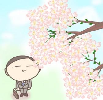 桜の花を見つめるサラリーマンのイラスト | ぴぴ