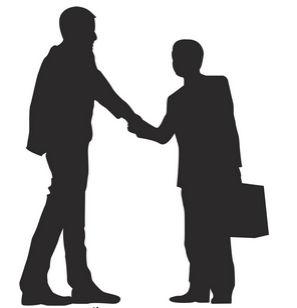 [フリーイラスト素材] クリップアート, ビジネスマン / サラリーマン, ビジネス, 職業, 人物 (シルエット), 人物, 握手, 取引, EPS ID:201405311000 - GATAG フリーイラスト素材集