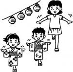 盆踊り2/夏祭り・盆踊り/夏の季節/8月の行事/無料【白黒イラスト素材】
