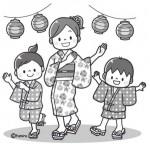 浴衣で盆踊りをする子どもたちのイラスト(モノクロ)