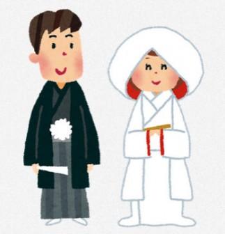 結婚式のイラスト「新郎新婦・神前式」: 無料イラスト かわいいフリー素材集