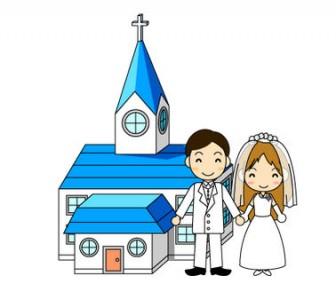 結婚式の無料イラスト:結婚式(教会) フリー素材 素材のプチッチ