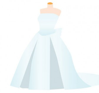 ウエディングドレス_結婚式イラスト-無料 フリー
