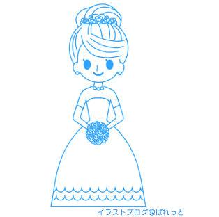 » ウエディングドレス姿の花嫁イラスト / 結婚式・ブライダル業界に   可愛い無料イラスト素材集