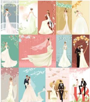 結婚式/カップル,ドレス02のイラストai/eps | ベクタークラブ<イラストレーター素材が無料>