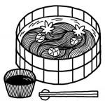 そうめん・素麺(白黒)/釣りの無料イラスト/夏の季節素材