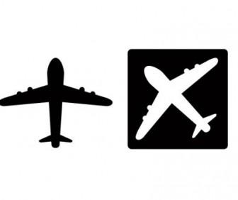 飛行機イラスト・シルエット素材01   イラスト無料・かわいいテンプレート