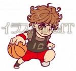 女性のバスケットボールの選手のイラスト【無料イラストのIMT】商用OK、麻衣ワールド作
