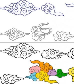 イラスト「中国風の雲(瑞雲)」フリー素材|和風素材 網頁素材 はんこの素材