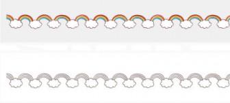 雲と虹のライン素材 | 罫線・飾り罫ライン素材 FREE LINE DESIGN