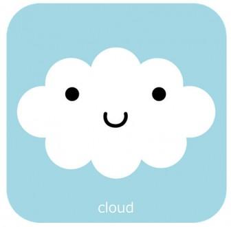 かわいい顔の雲 無料イラスト素材|ハッピープリンタブル