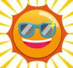 サングラスをかけた、満面の笑みの太陽のイラスト | 【無料配布】南国イラスト ai epsイラレ素材 ダウンロードページ