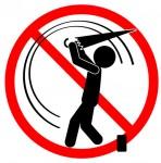 傘でのゴルフ練習禁止|イラスト素材|無料