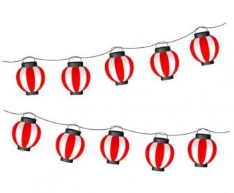 連なった提灯(ちょうちん)のイラスト素材 | イラスト無料・かわいいテンプレート