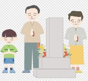 お彼岸 - 墓参り - illustration