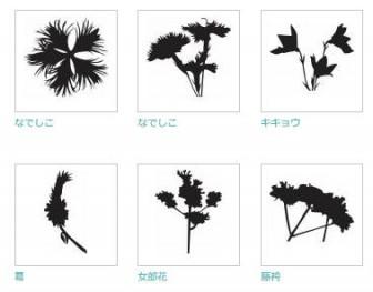 秋の七草|シルエット イラストの無料ダウンロードサイト「シルエットAC」