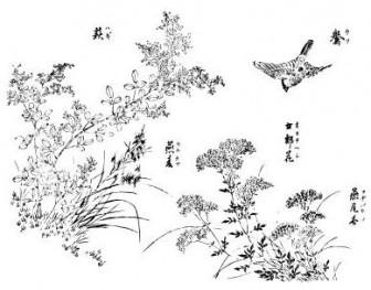 萩、鷽、刈萱、女郎花、藤袴 - 和風イラスト(無料) - 和風イラスト | 和のフリー素材集/和風イラスト、浮世絵壁紙、和紙テクスチャ、和のクリップアート