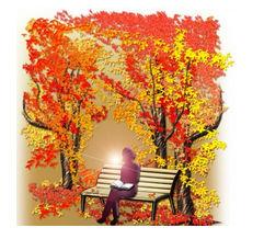 秋の読書シルエットのイラストをダウンロード | イラスト無料【DDBANK】