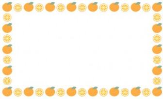 [果物・フルーツ]ミカン(オレンジ)のフレーム飾り枠イラスト