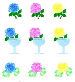 バラ・薔薇のアイコン・イラスト