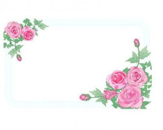 エレガントなバラと葉_囲みフレーム背景イラスト