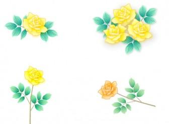 黄色いバラの無料イラスト