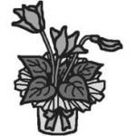 シクラメン(モノクロ)/花/クリスマスのイラスト、ミニカット素材
