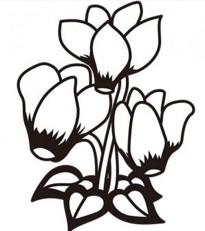 植物 シクラメン(モノクロ) | 無料イラスト・パワーポイント形式テンプレート【素材工場】