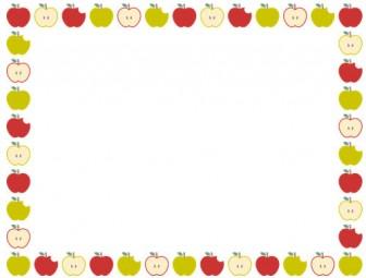 [果物・フルーツ]林檎(リンゴ・アップル)のフレーム飾り枠イラスト