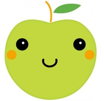 青りんごのかわいいイラスト素材 無料ダウンロード|ハッピープリンタブル