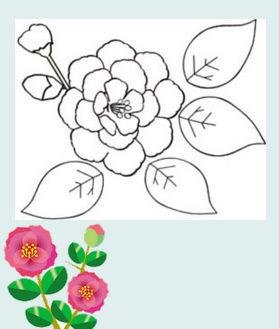 花の塗り絵&白黒イラストぬりえ 素材屋じゅんのモノクロ画像絵・ぬり絵フリー無料花のイラスト