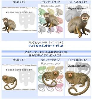 申年/猿の年賀状イラスト集 M/Y/D/S フリー素材