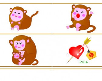 年賀状イラストさる・猿・申2016年無料素材